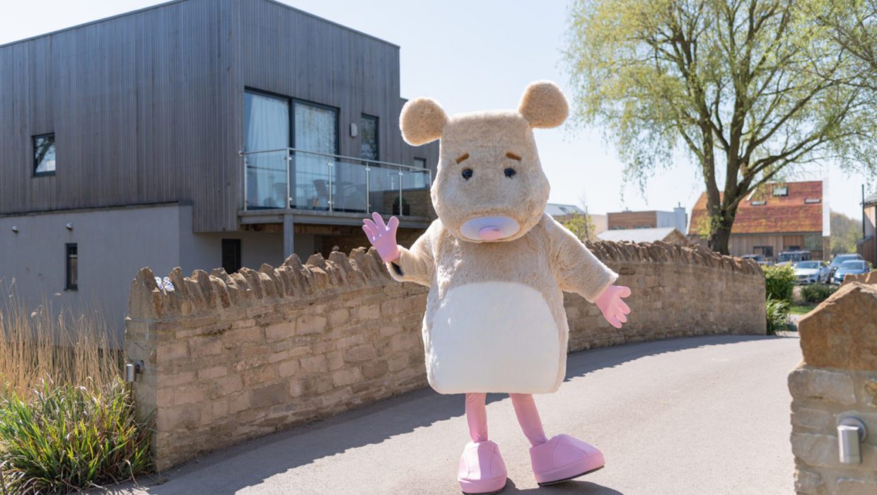 Easter Sunday at Lower Mill Estate Miss Mouse comes to life