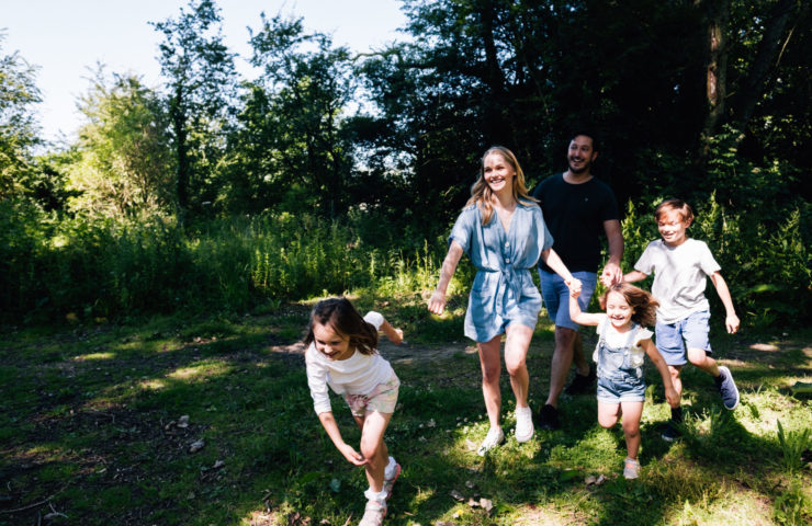 Young family on the Miss Mouse Adventure Trail